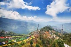 Beskåda från det Tashi Viewpointet på Gangtok, Indien Arkivbilder