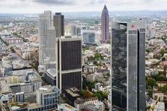 Huvudsaklig panorama av Frankfurt - förmiddag -, Tyskland. royaltyfri foto