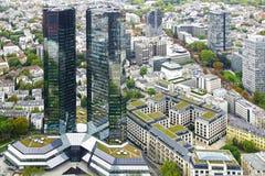 Huvudsaklig panorama av Frankfurt - förmiddag -, Tyskland. fotografering för bildbyråer