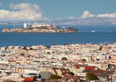 Beskåda från ovannämnt av San Francisco och Alcatraz   Arkivfoto