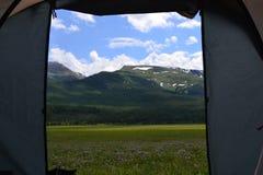Beskåda från tenten Fotografering för Bildbyråer