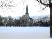Beskåda kyrkan från parkera Royaltyfria Bilder