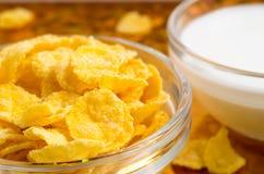 Beskåda närbilden av mjölkar och en glass bunke av cornflakes Royaltyfri Fotografi