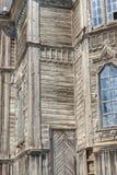 Trävägg av den gammala orthodoxykyrkan i Pobirka - Ukraina, Europa Arkivfoto