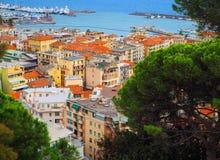 Beskåda port av San Remo San Remo och av staden på Azure Italian Riviera, landskapet av Imperia, västra Liguria, Italien Royaltyfria Bilder