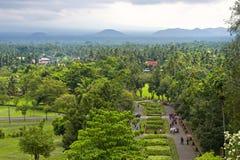 Beskåda uppifrån av Borobudur, Java, Indonesien Arkivbilder