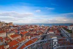 Beskåda uppifrån av den Santa Justa hissen på Lissabon Arkivbilder
