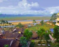 Beskåda uppifrån golvet av hotellet på nationalpark i Chitwan royaltyfria foton
