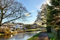 Beskåda av den Lancaster kanalen på Bolton-Le-Sands Arkivbilder