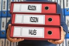 Beskickning vision, värdebegreppsord framförd mappbild för begrepp 3d Cirkelröra Arkivfoton