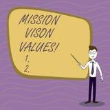 Beskickningen Vison för handskrifttexthandstil värderar Begreppsbetydelseplanläggning för högra beslut för framtida förbättringsk stock illustrationer