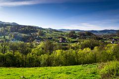 Mountains lit by the spring sun. Beskid Wyspowy - part of the Western Beskids situated between the Raba valley and the Sądecka basin, Poland Stock Photos