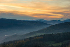 Beskids-Sonnenuntergang Stockfotos
