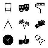 Beskriva symboler ställer in, enkel stil stock illustrationer