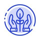 Beskydd växt, hand, blå prickig linje linje symbol för energi vektor illustrationer