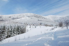 Beskydy winter country. Winter country full of snow in Beskydy mountains Stock Photos