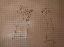 beskyllningen räknade teckningstegelplattaväggen Royaltyfria Bilder