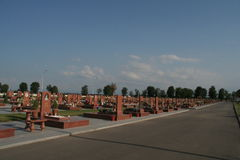 Beslan-Schuldenkmal, wo Terroranschlag im Jahre 2004 war- Stockfotografie