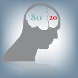 80 20 beslissen, denkend zaken in hoofd en hersenen, illustratie in vlak ontwerp Royalty-vrije Stock Foto