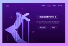 Besluit die - maken - moderne isometrische vectorwebsitekopbal royalty-vrije illustratie