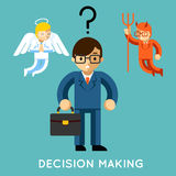 Besluit die - maken Zakenman met engel en demon stock illustratie