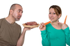 Besluit tussen vlees of groenten Royalty-vrije Stock Foto's