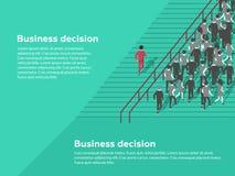 beslut för begrepp för askaffärskontroll ingen paper textur ja möjligheter Säker affärsman som väljer den bästa lösningen stock illustrationer