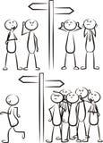 Beslut för pinnemanväg - komikerdiagram vektor illustrationer