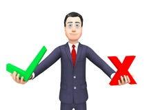 Beslut och reklamfilm för affärsmanWith Options Means röstning stock illustrationer