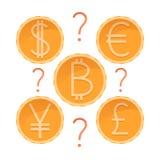 Beslut vilken valuta som ska investeras och att välja dollaren, euroet, yen, pundet eller bitcoin, guld- mynt med frågefläcken, v vektor illustrationer