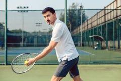 Beslutsam tennisspelare som framåtriktat ser med koncentration, innan att tjäna som arkivfoton
