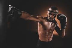 Beslutsam ung Muay thailändsk kämpe i boxninghandskar som utbildar thai boxning med att stansa påsen Arkivbild