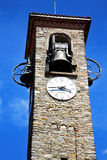 Besnate old   wall  and church tower bell sunny day Royalty Free Stock Photos