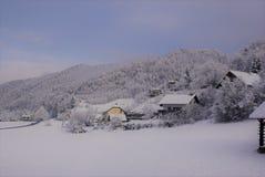 Besnica, um vale nevado imagem de stock royalty free