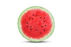Besnoeiing in halve verse die watermeloen op witte achtergrond wordt geïsoleerd royalty-vrije stock afbeeldingen