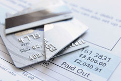 Besnoeiing op creditcard Royalty-vrije Stock Foto's