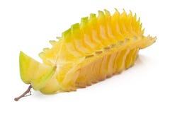 Besnoeiing Starfruit, carambola op wit Royalty-vrije Stock Afbeeldingen