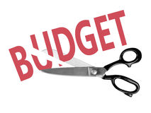 Besnoeiingen op de begroting met schaar, op wit worden geïsoleerd dat stock foto's