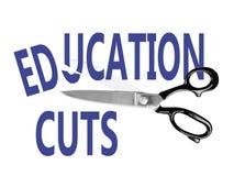 Besnoeiingen op de begroting, Onderwijs, met schaar, op wit royalty-vrije stock afbeeldingen