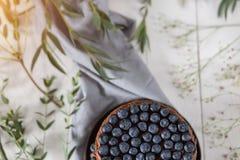 Besnoeiings eigengemaakte citroen cupcake met bosbessen op houten rustieke achtergrond minimalism stock afbeeldingen