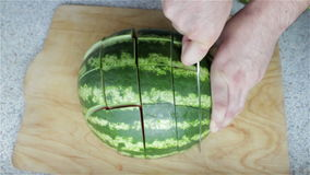 Besnoeiings rijpe watermeloen stock videobeelden