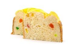 Besnoeiingsbroodjes met plakken van fruitsuikergoed op wit wordt geïsoleerd dat stock afbeeldingen