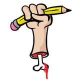 Besnoeiingshand met been die een potlood houden Stock Afbeeldingen