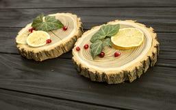 Besnoeiingshout met met plakken van citroen en granaatappelbessen Stock Afbeelding