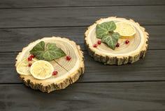 Besnoeiingshout met met plakken van citroen en granaatappelbessen Stock Afbeeldingen