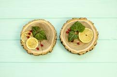 Besnoeiingshout met met plakken van citroen en granaatappelbessen Royalty-vrije Stock Foto's