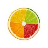 Besnoeiingsplakken van kalk en citroen, oranje, roze die grapefruit op witte achtergrond wordt geïsoleerd Stock Afbeelding