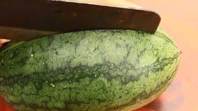 Besnoeiingswatermeloen in stukken stock video