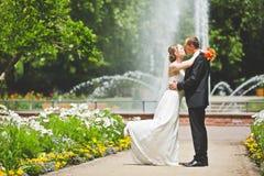 Beso atractivo del novio y de la novia Imagenes de archivo