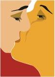 Beso de la tarjeta del día de San Valentín libre illustration